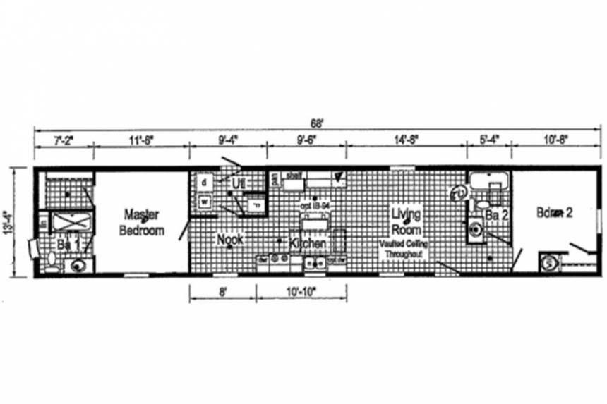 A Photo Of 141 Milton Vermont Single Wide Home Floor Plan.