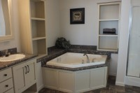 A photo of a large master bathroom in a modular home.