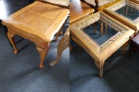 Two photos of wooden coffee tables.