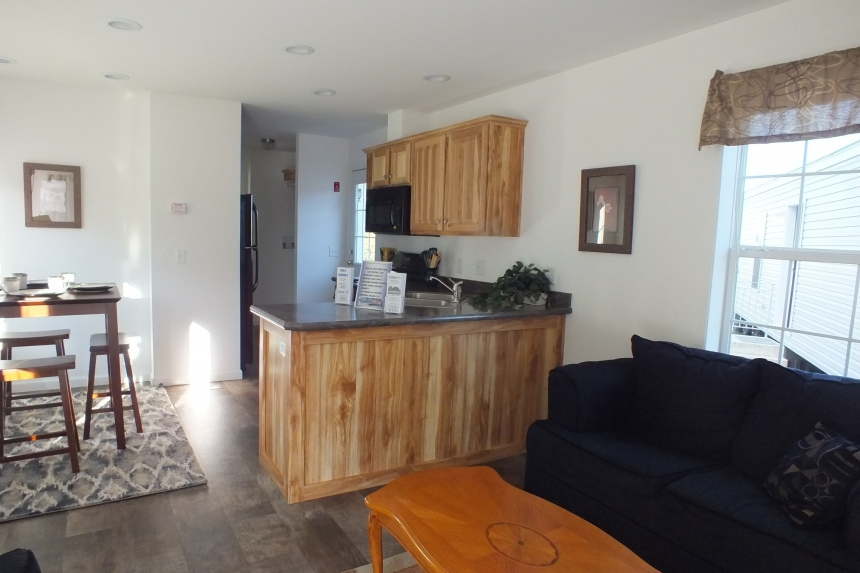 Photo Of Single Wide Home A12001P Living Area Looking Into Kitchen With Wood Cabinets