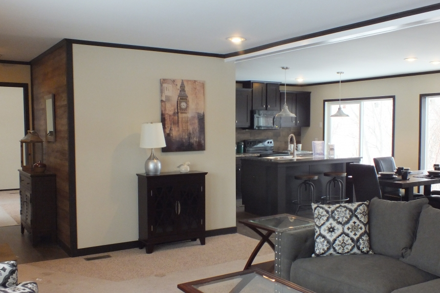 Photo Of Double Wide Home 302 Stock Model Living Area Looking Into Kitchen And Large Glass Doors