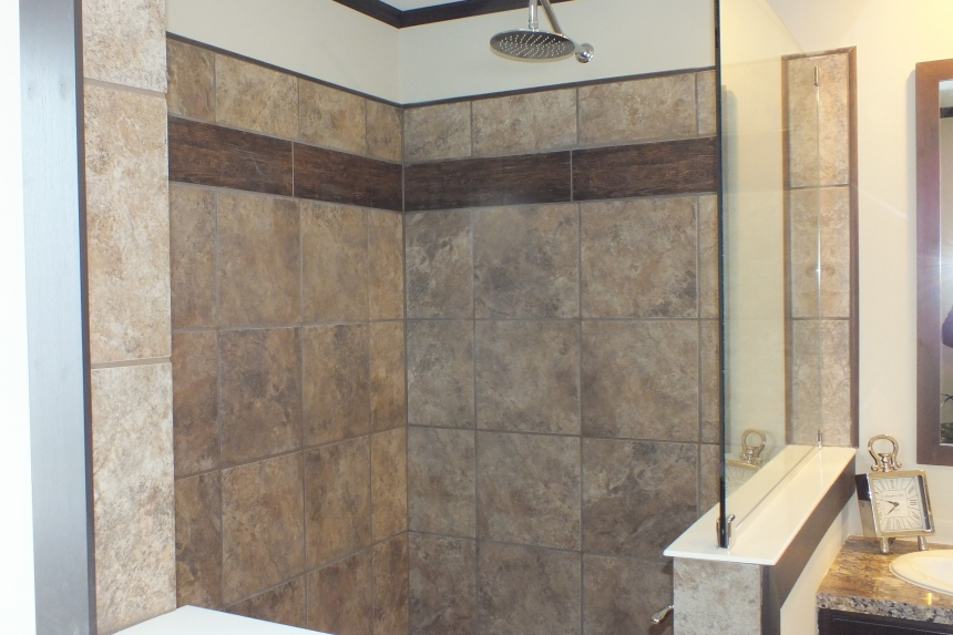 Photo Of Double Wide Home 302 Stock Model  Large Tiled Shower