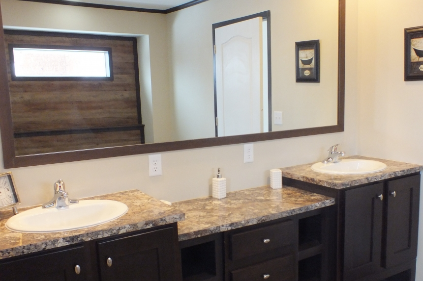 Photo Of Double Wide Home 302 Stock Model Bathroom Vanity With Two Sinks And Mirror