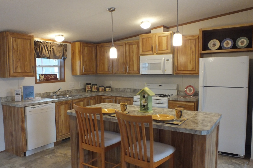 Photo Of Double Wide Home 304 Stock Model Kitchen With Appliances And Island