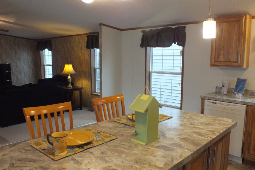 Photo Of Double Wide Home 304 Stock Model Kitchen Island Looking Into Bright Window And Living Room