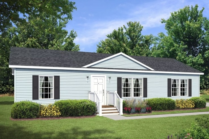 A Rendering Of Modular Ranch Le-113 Blue Exterior