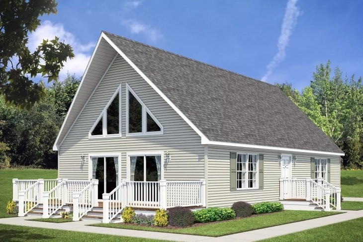 Rendering Of Modular Chalet Le-158 White Exterior