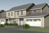 Rendering Of Mansfield Lane Townhouses In Berlin Vermont Tan Exterior At Angled View
