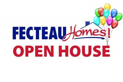 Text promoting an open house at Fecteau Homes.