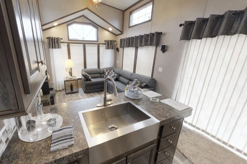 Featured Park Model 39Ukl Kitchen Sink And Wood Cabinets
