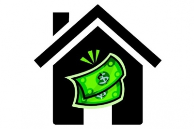 A cartoon drawing of a house and a couple of dollar bills.