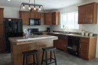A photo of a kitchen interior in ranch modular home 297.